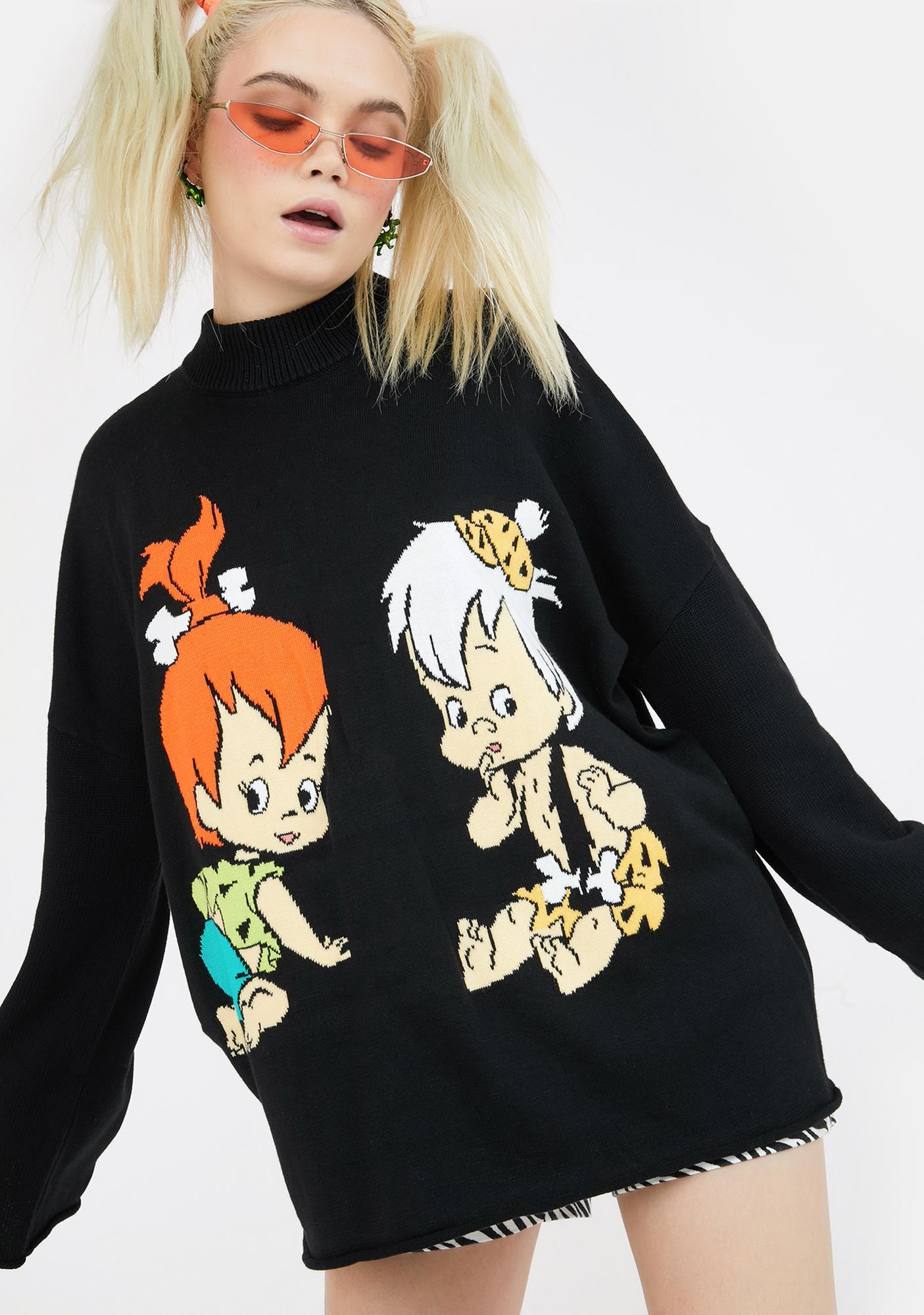 Lazy Oaf X Flintstones Pebbles N Bam Bam Knit Jumper