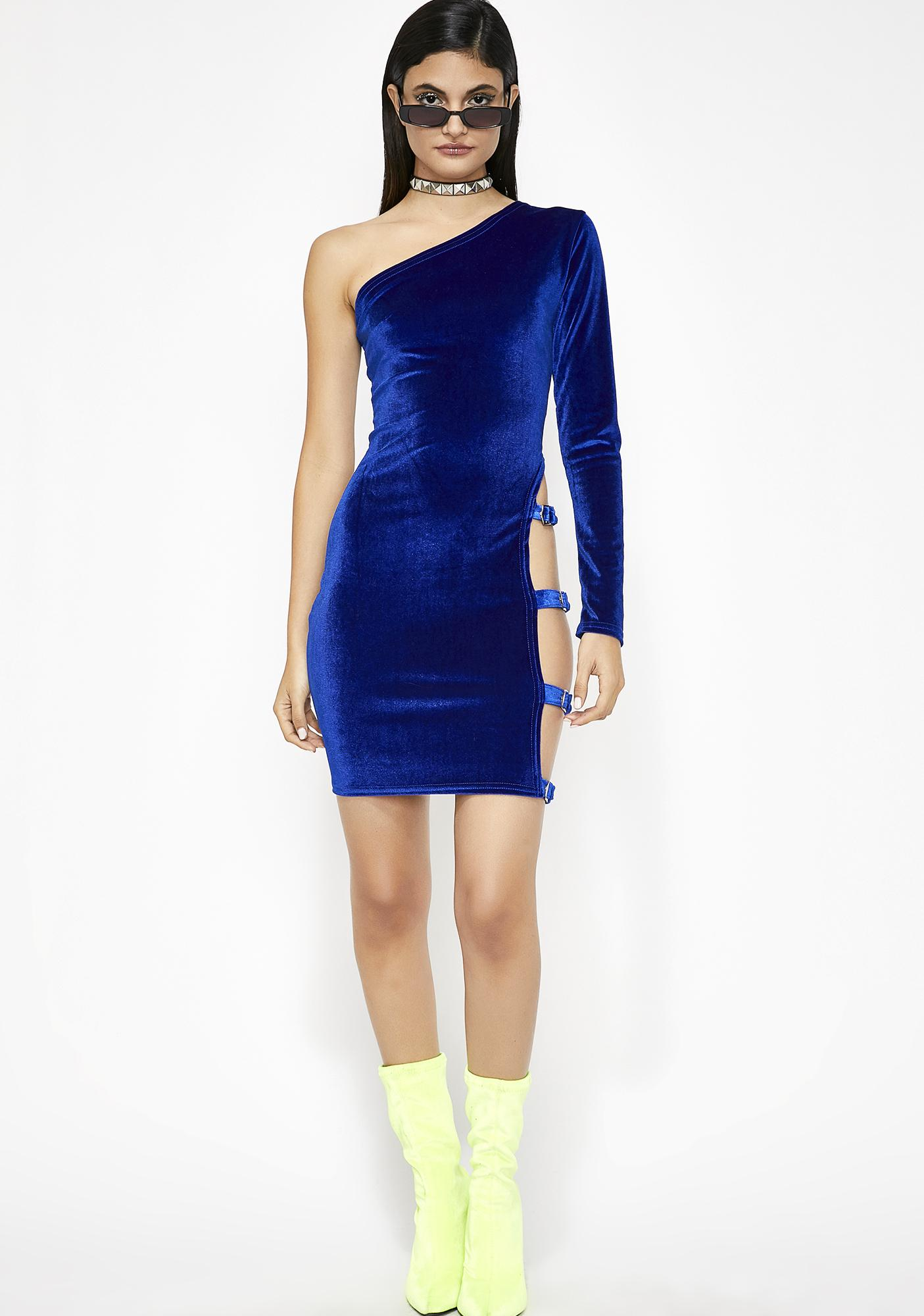 Buckle Up Velvet Dress