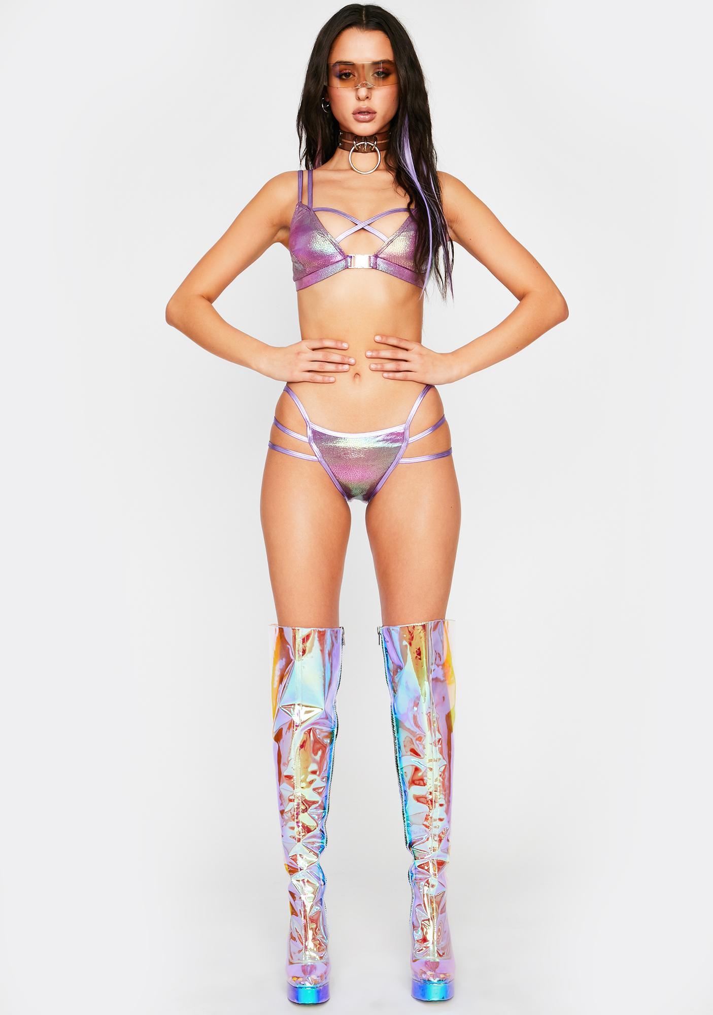 Island Breeze Holographic Bikini Set