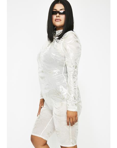 Lightening Silver Blaze Metallic Catsuit