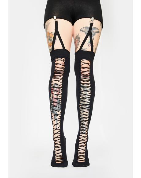Do It Better Garter Thigh High Socks