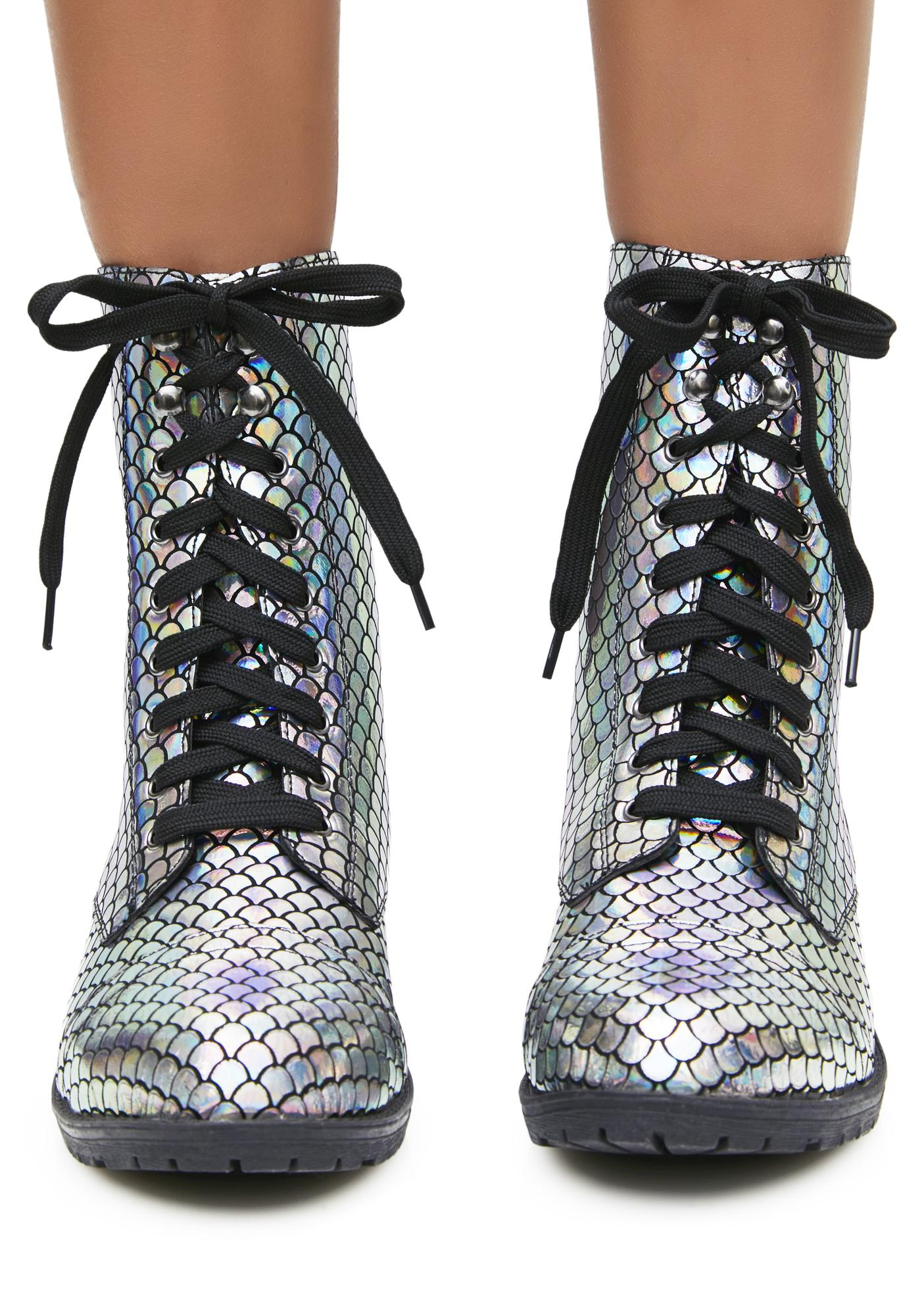Mermaid Tail Combat Boots