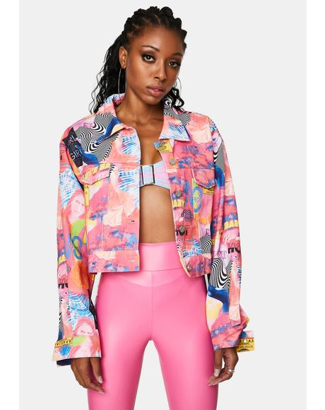Empower Print Cropped Denim Jacket