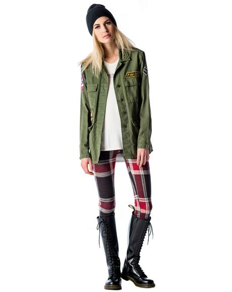 Fatigued Studded Military Jacket
