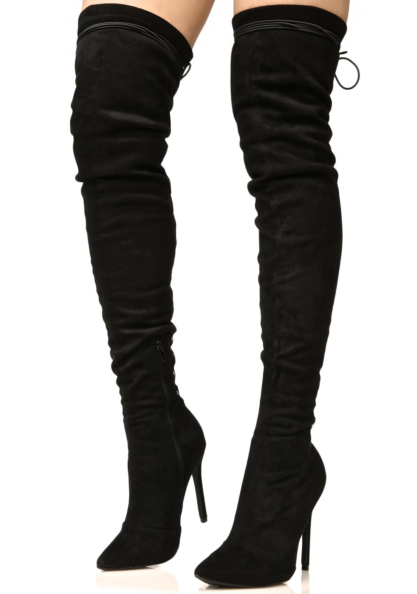 Give Me Fever Lace-Up Thigh-High Boots