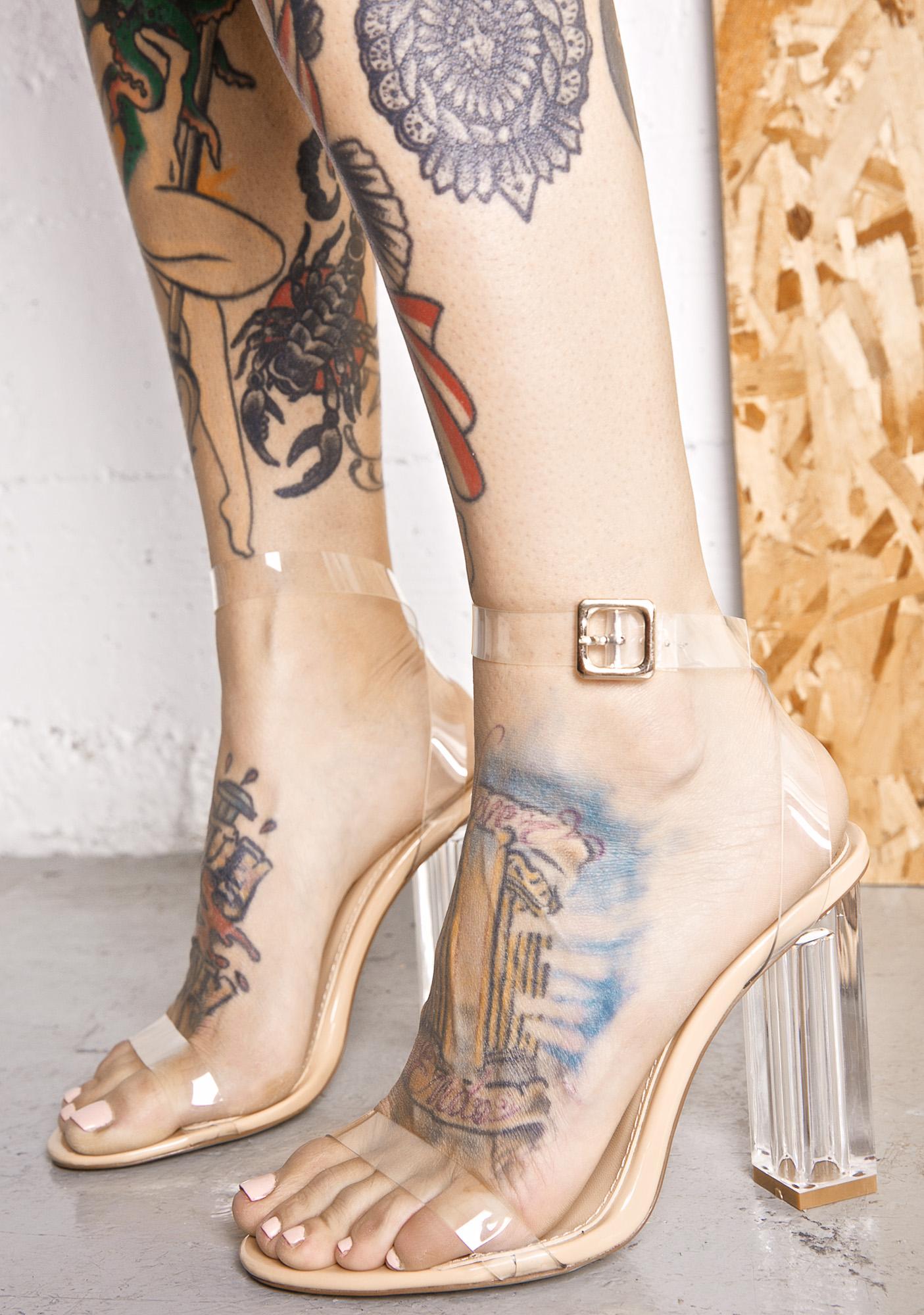 Pink Strappy Perspex Heels