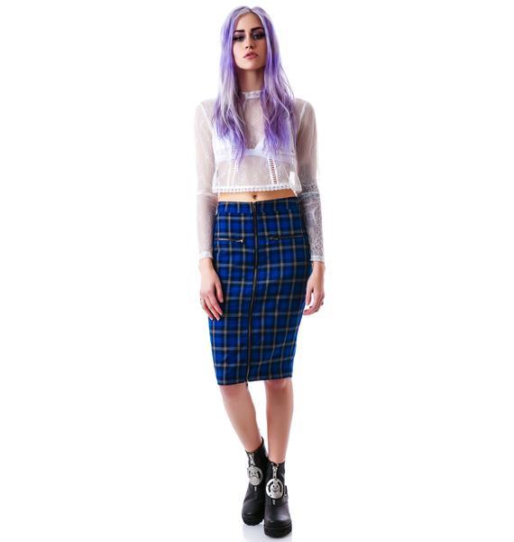 Francis Plaid Pencil Skirt