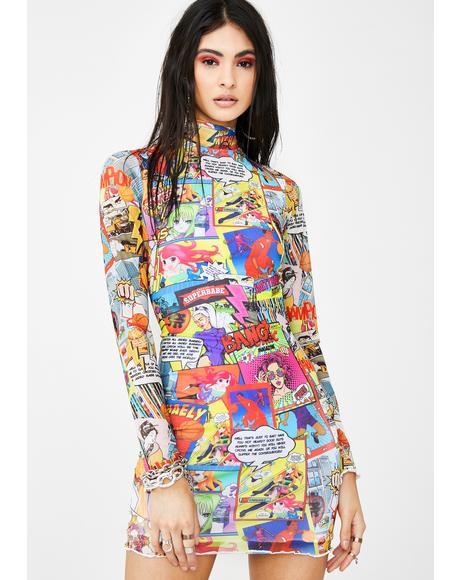 Comic Book Print Mesh Mini Dress