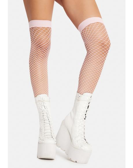 Blush Deadly Kisses Fishnet Thigh Highs