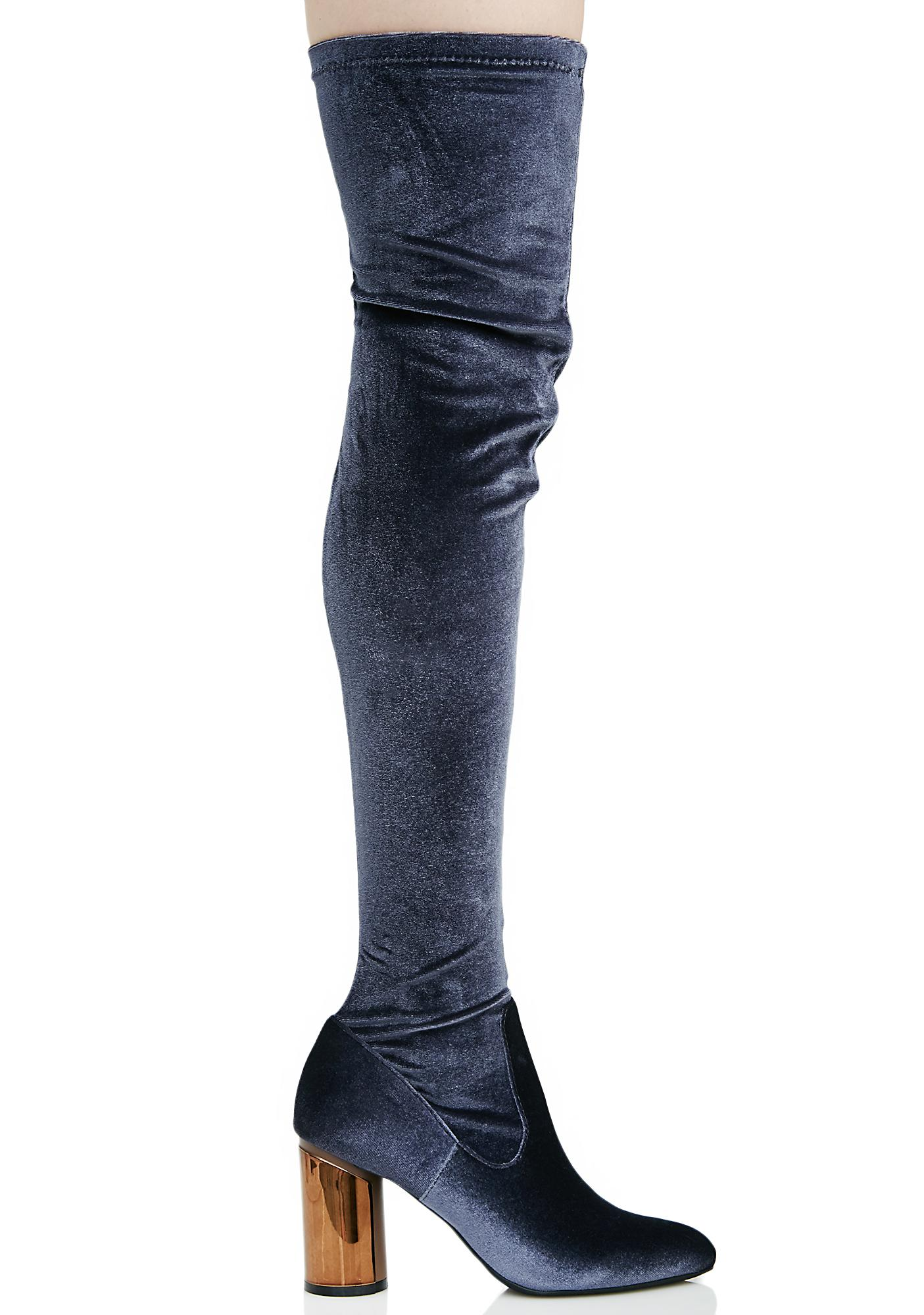 Public Desire Ellis Mirrored Heel Thigh-High Boots