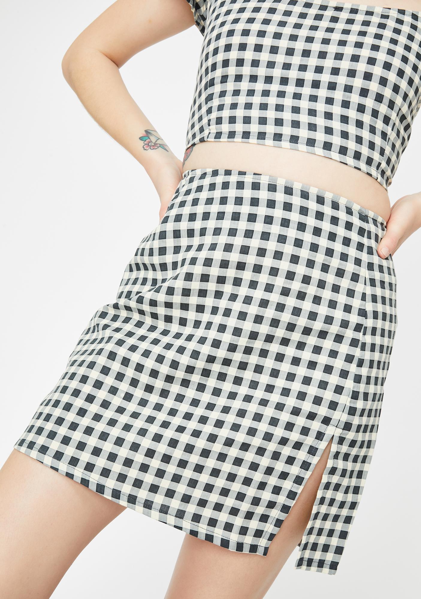 Motel Gingham Cream Sheny Mini Skirt