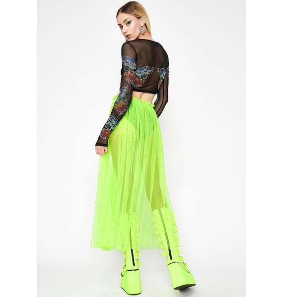 Lime Wild AF Tulle Skirt