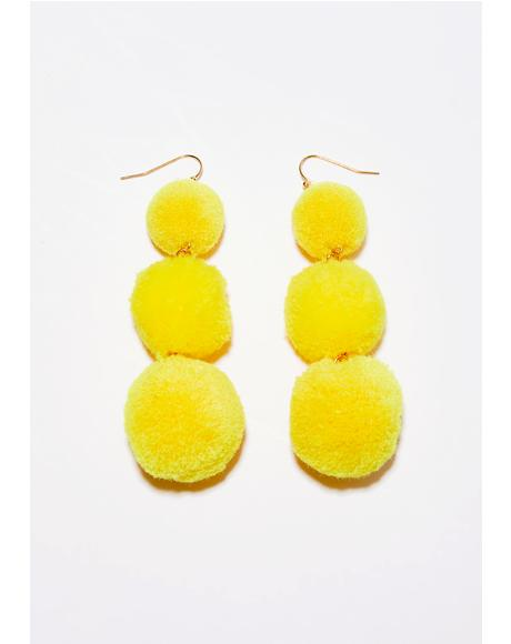 Golden Lil' Fluff Ball Earrings