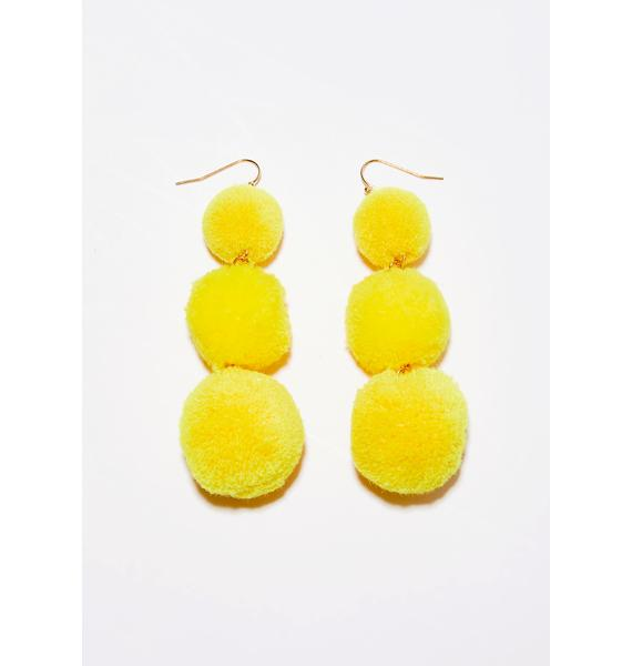 Golden Lil' Fluff Ball Earrings