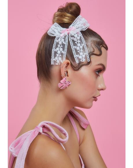 All Dolled Up 2 Piece Lace Bow Hair Clip Set