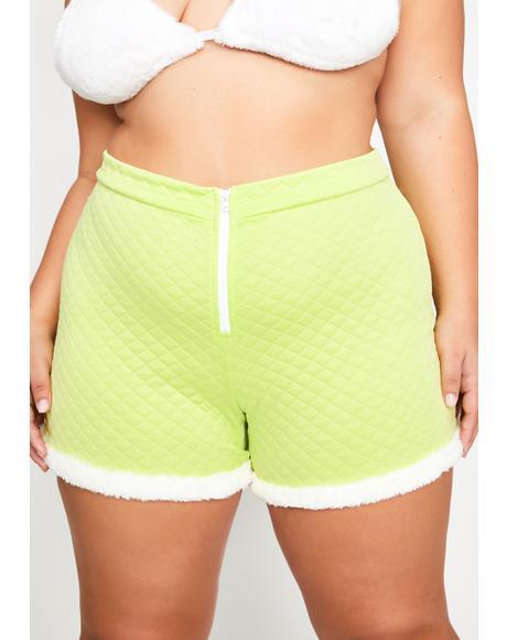 Lime Legit Soft Gurl Hours Fur Trim Shorts