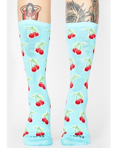 Cherry Print Crew Socks