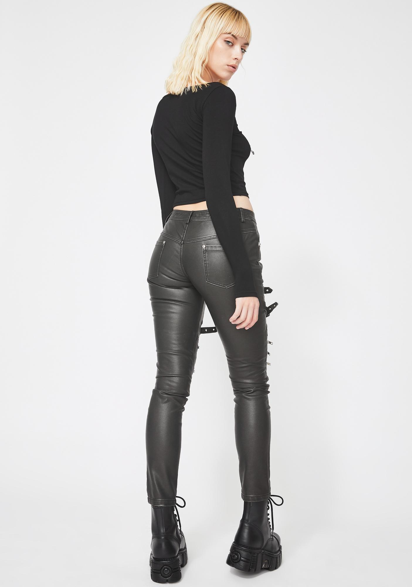 Devil Fashion Faux Leather Buckle Skinny Pants