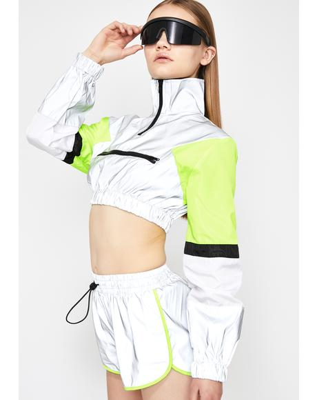 Platinum Sporty Swag Reflective Shorts Set