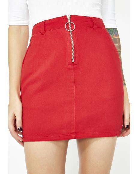 Cherry Bardi Gang Denim Skirt