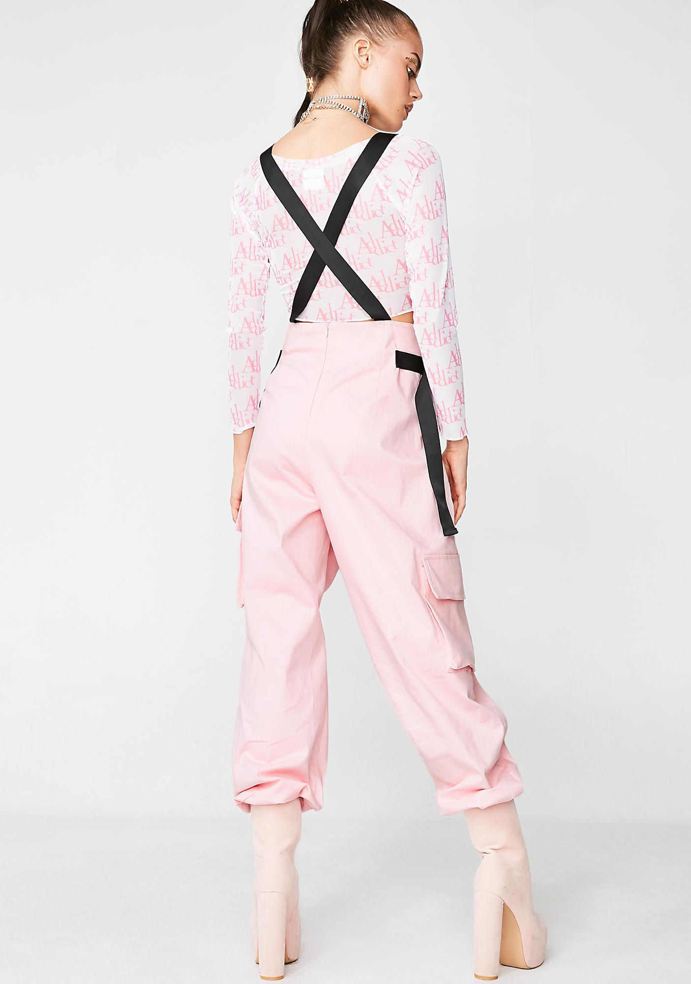 Jaded London Pink Cotton Twill Overalls