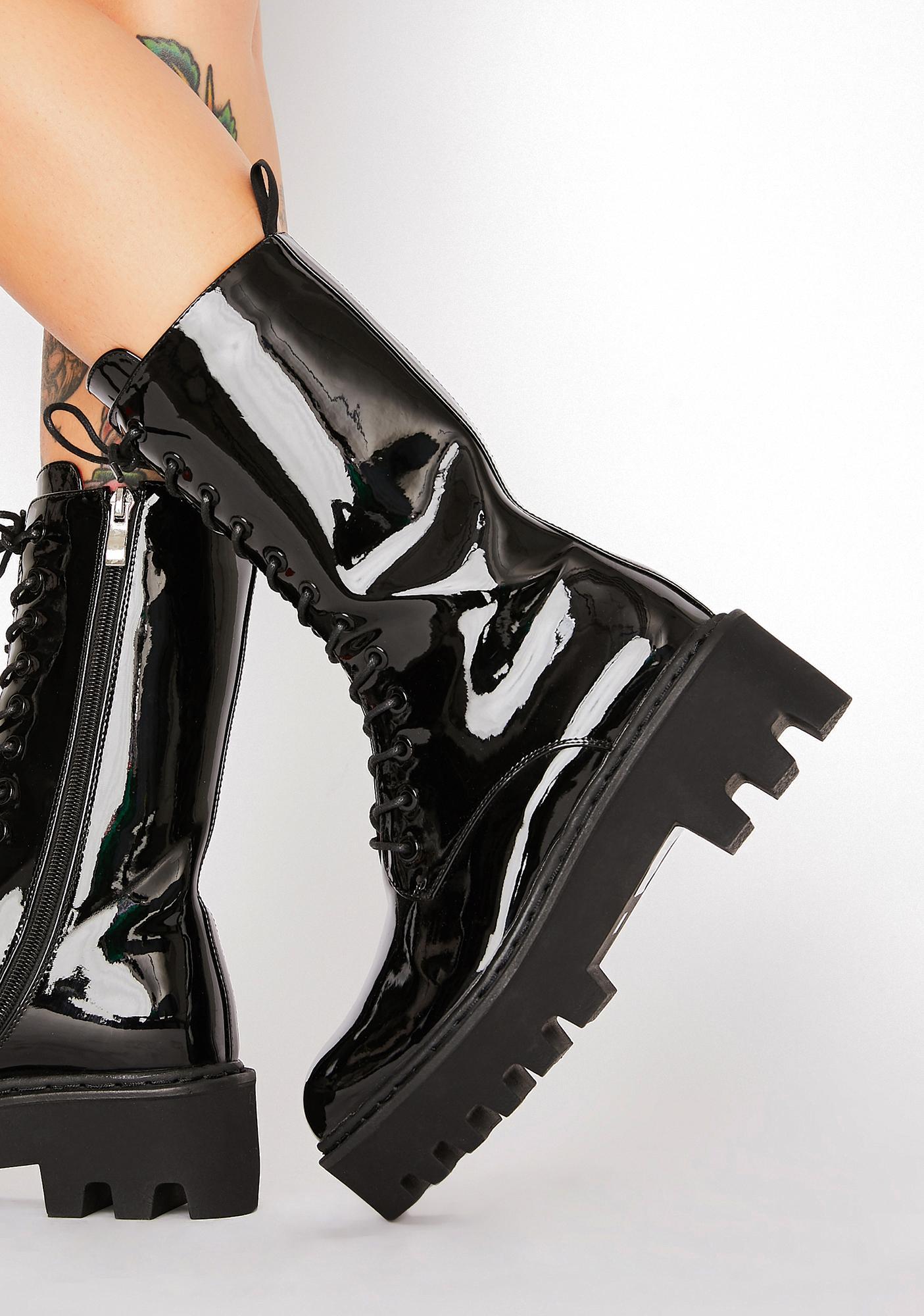 Lamoda Unforgiven Foe Patent Boots