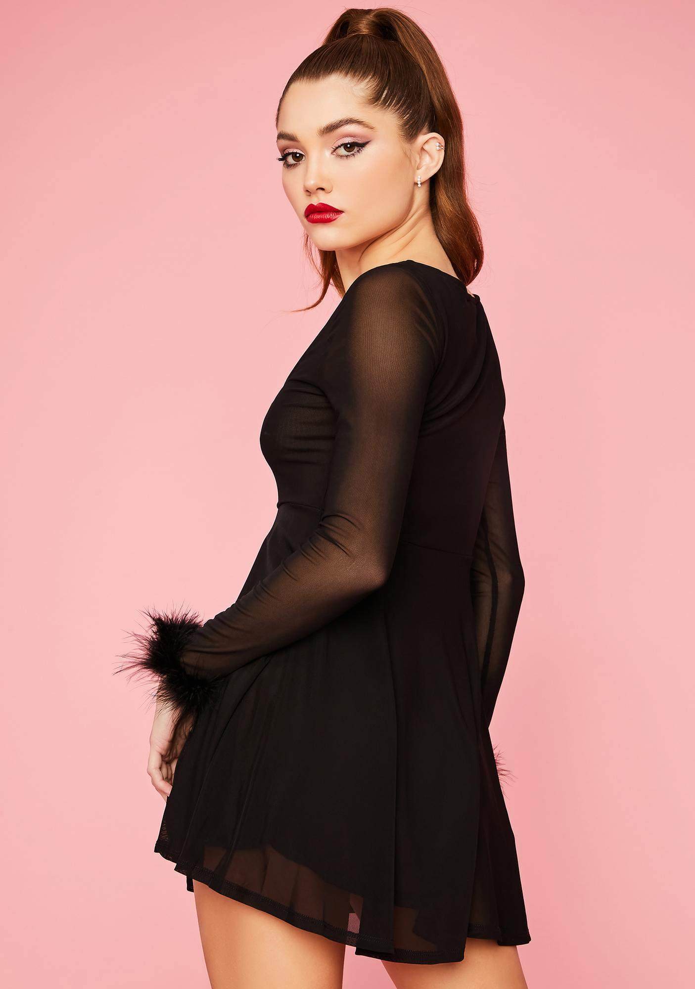 Flirty Lifestyle Marabou Flare Dress