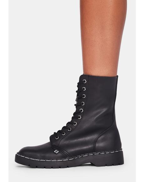 Black 10 Eye Combat Boots