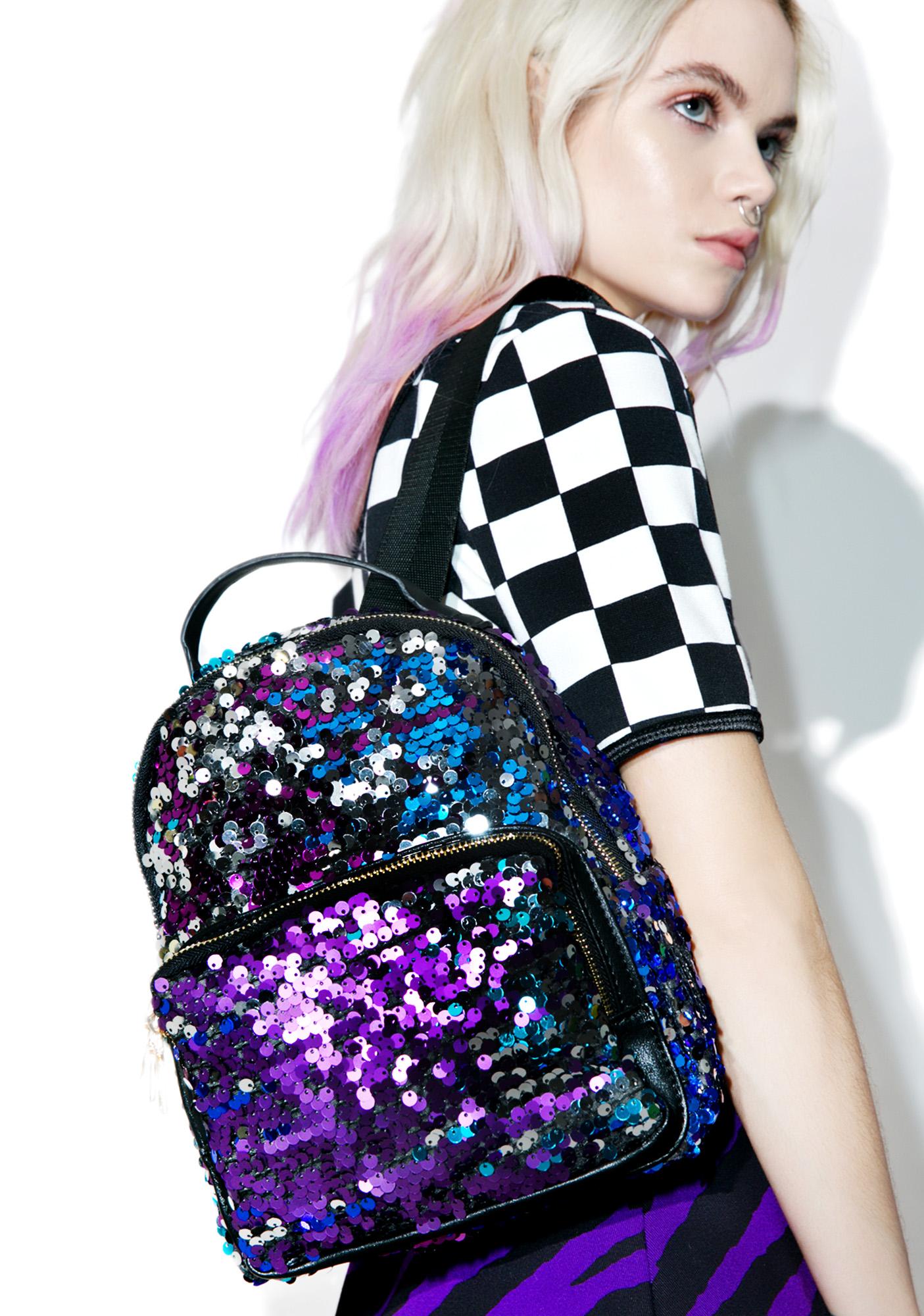 Multi Sequin Black Backpack