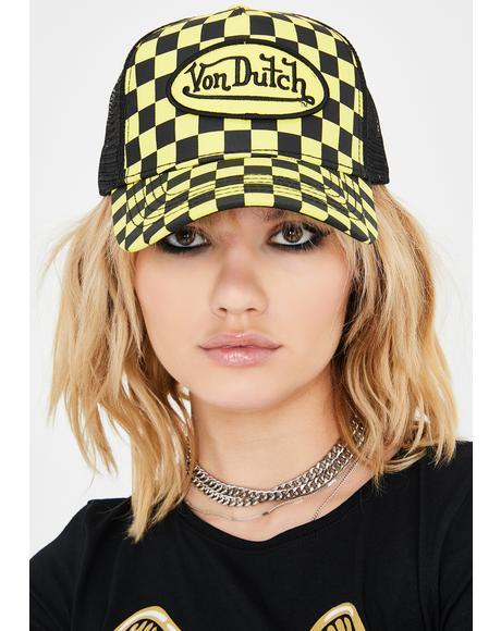Yellow Checkered Trucker Hat