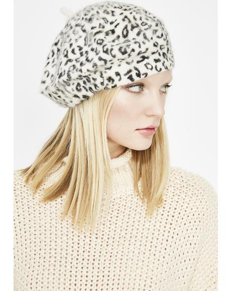 Sassy Snow Leopard Beret