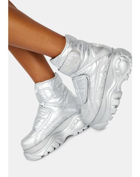 Silver Puffer Platform Boots