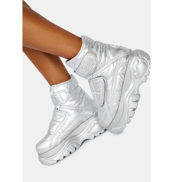 Buffalo London Silver Puffer Platform Boots