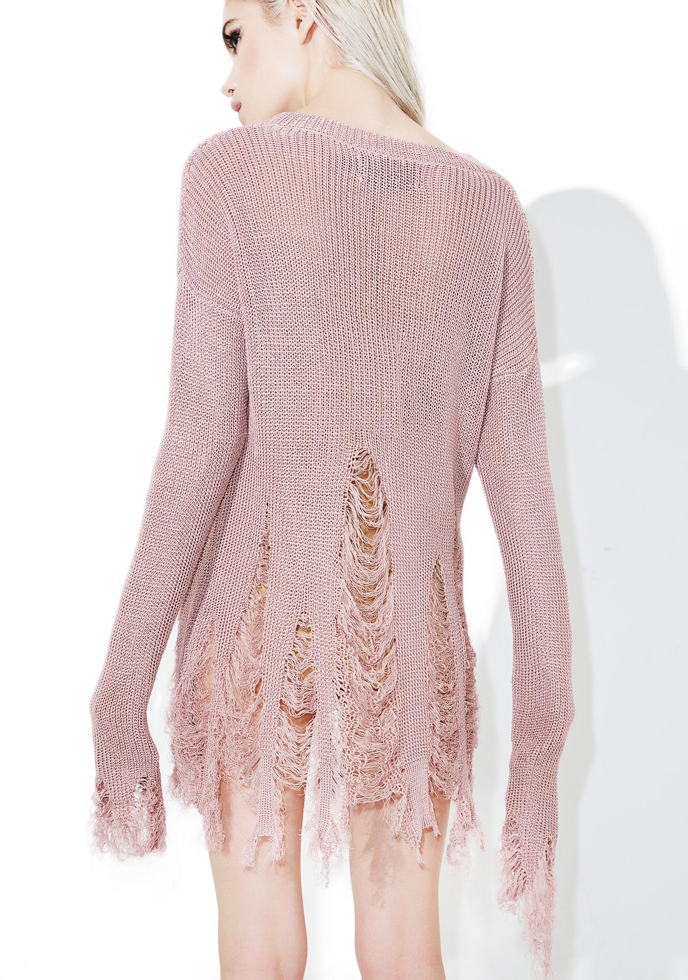 Rose Quartz Destroyed Sweater