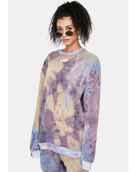 Lilac Tie Dye Relaxed Fit Crewneck