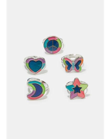 Lift Your Spirits 5 Piece Ring Set
