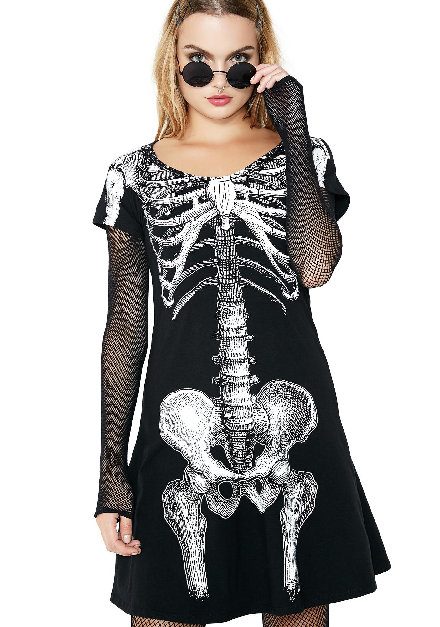 Kreepsville 666 green skeleton dress plus