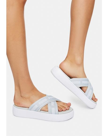 White Suede Tape Platform Slide Sandals