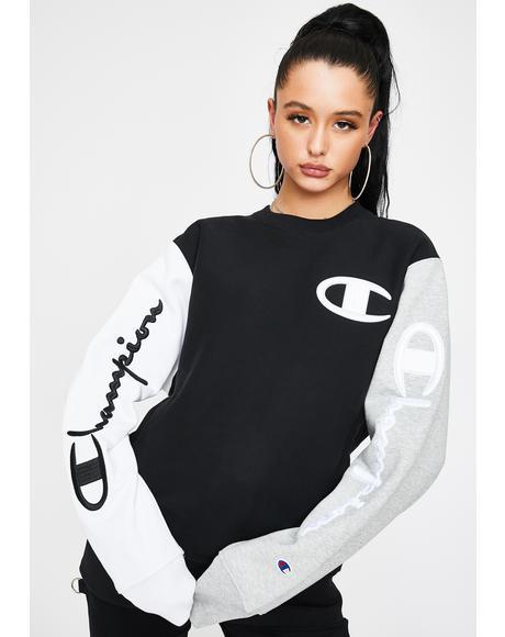 Colorblock Pullover Crew Sweatshirt