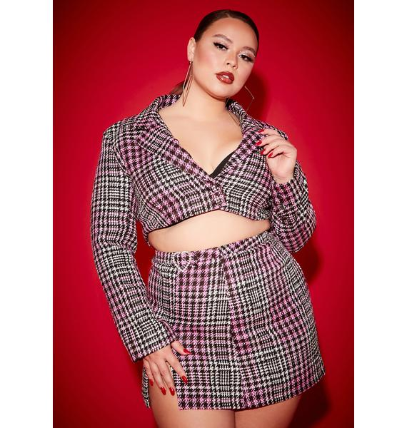 Poster Grl Honey She's Been Mean Cropped Tweed Blazer