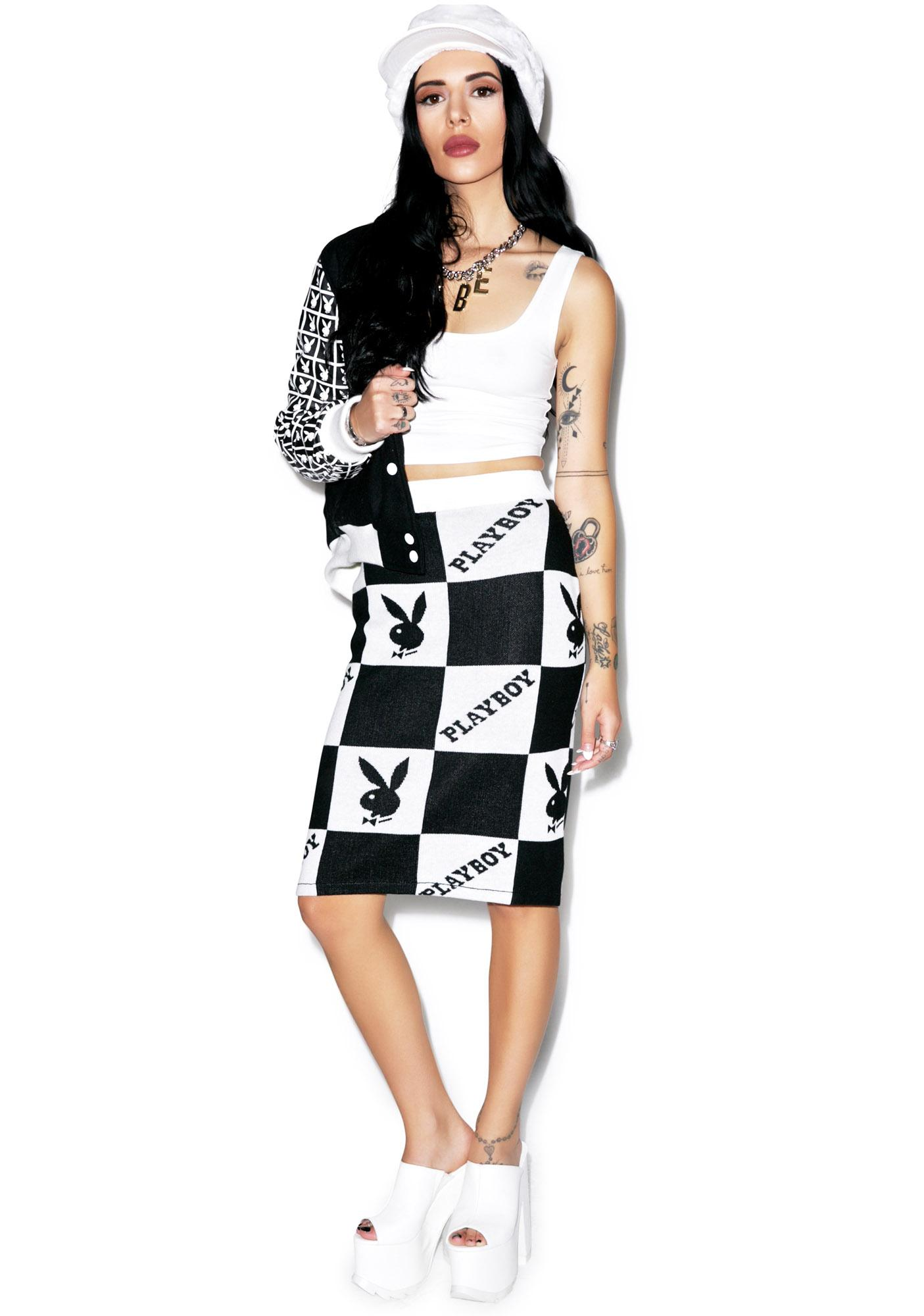 Joyrich X Playboy Checker Knit Tube Skirt