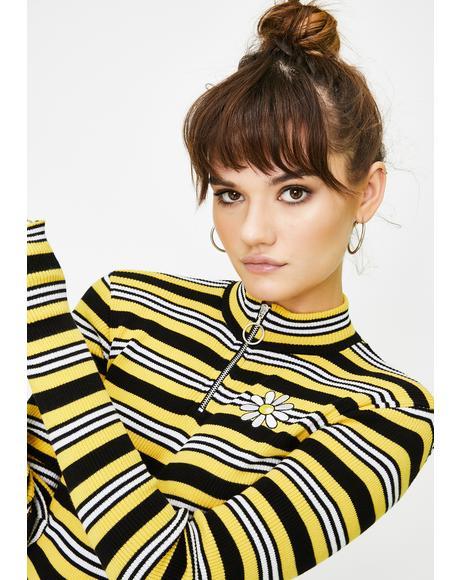 Daisy Bee Striped Half-Zip Top