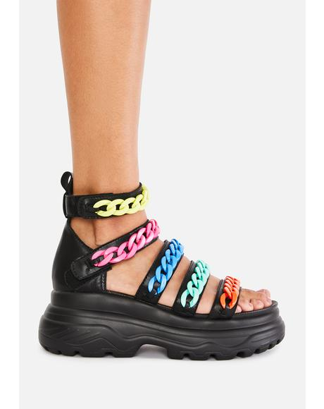 Rainbow Strident Chain Gladiator Sandals