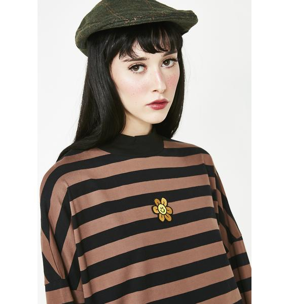 Lazy Oaf Black N' Brown Stripey Long Sleeve Tee