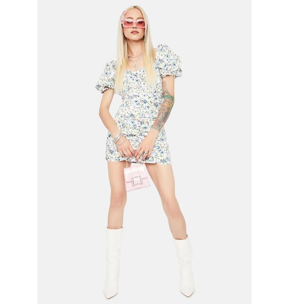 Stomp The Yard Floral Ruched Mini Dress