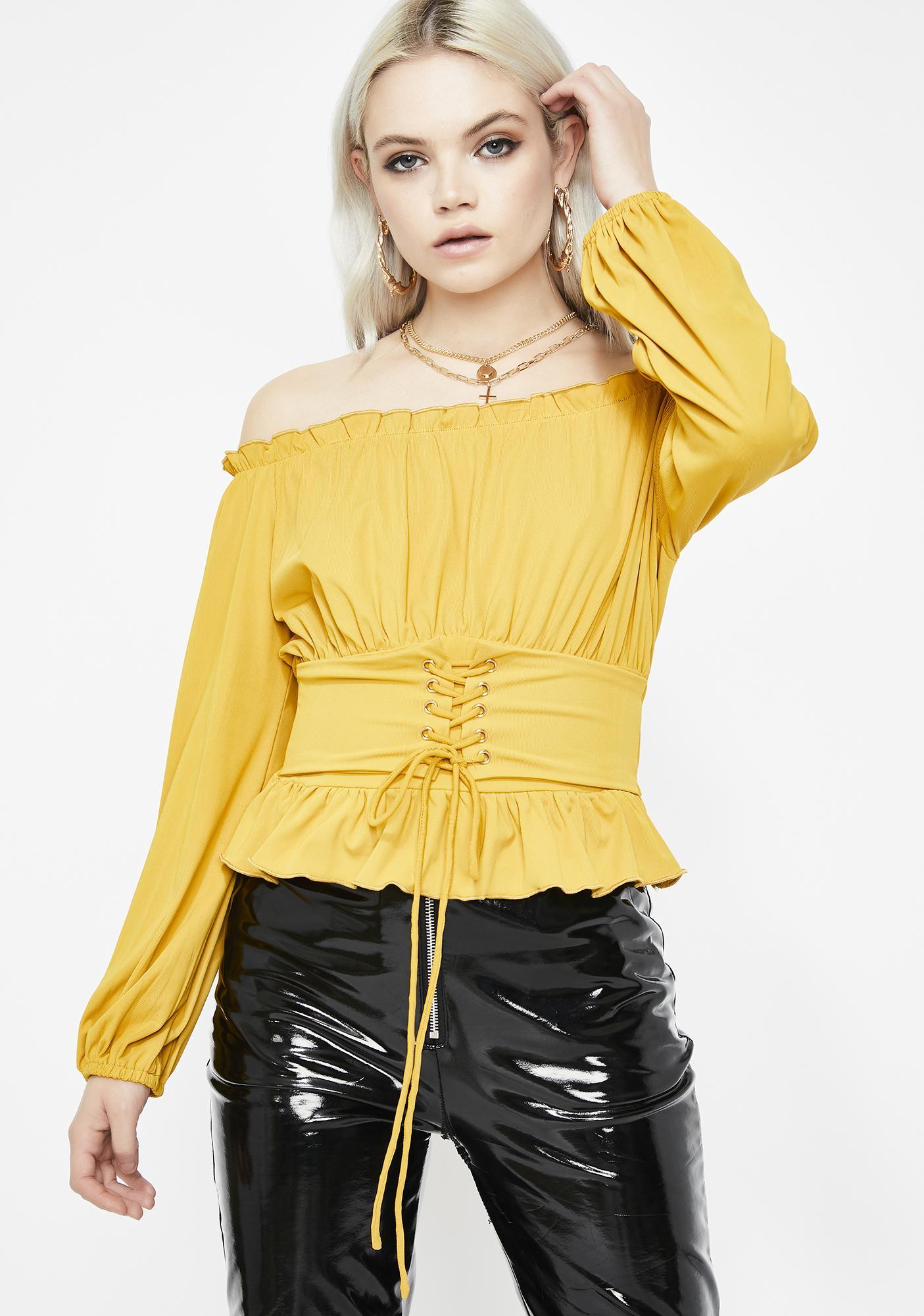 08597bff26 Yellow Corset Off Shoulder Ruffle Top