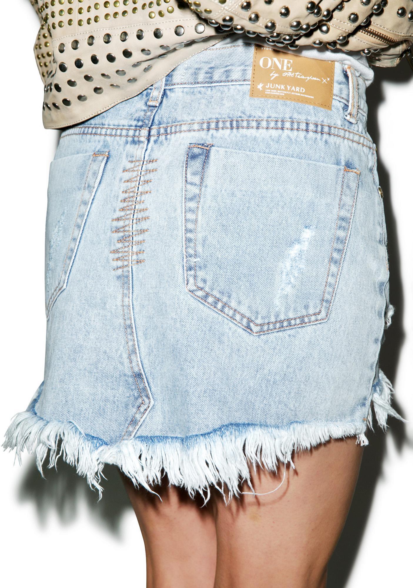 One Teaspoon Brando Junkyard Denim Skirt