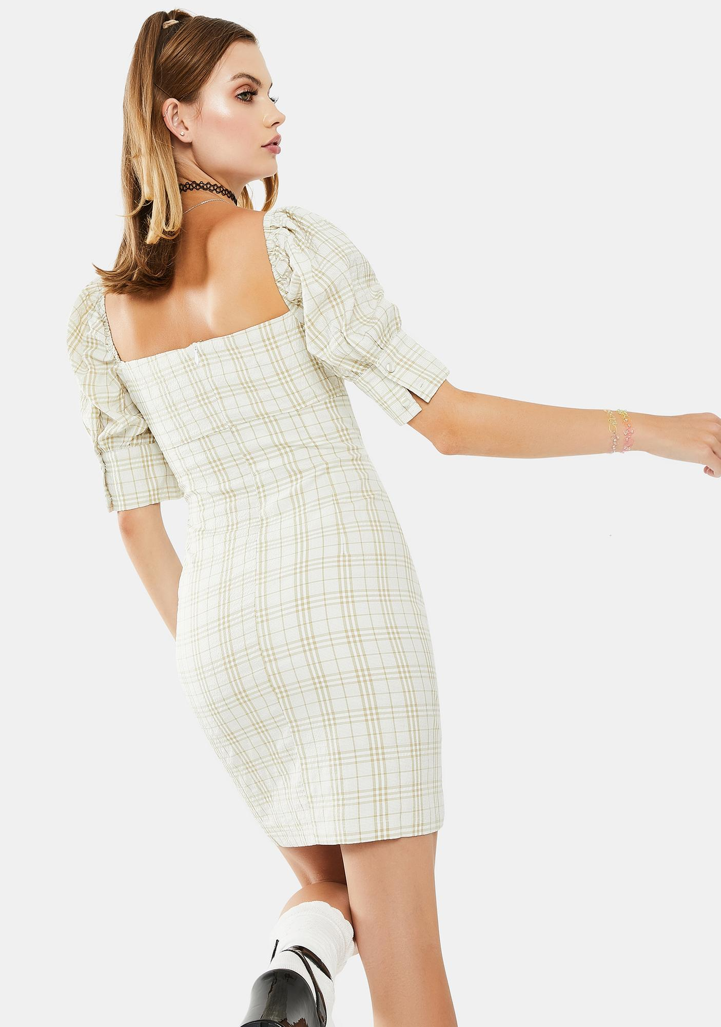 Glamorous Sage Checkered Mini Dress