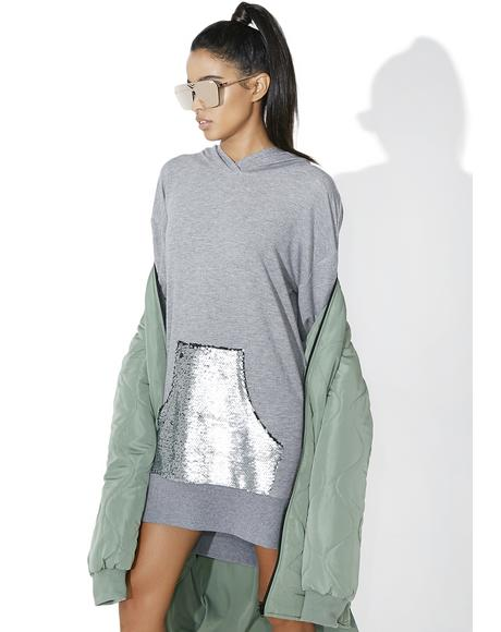 Sequin Pocket Hoodie Dress