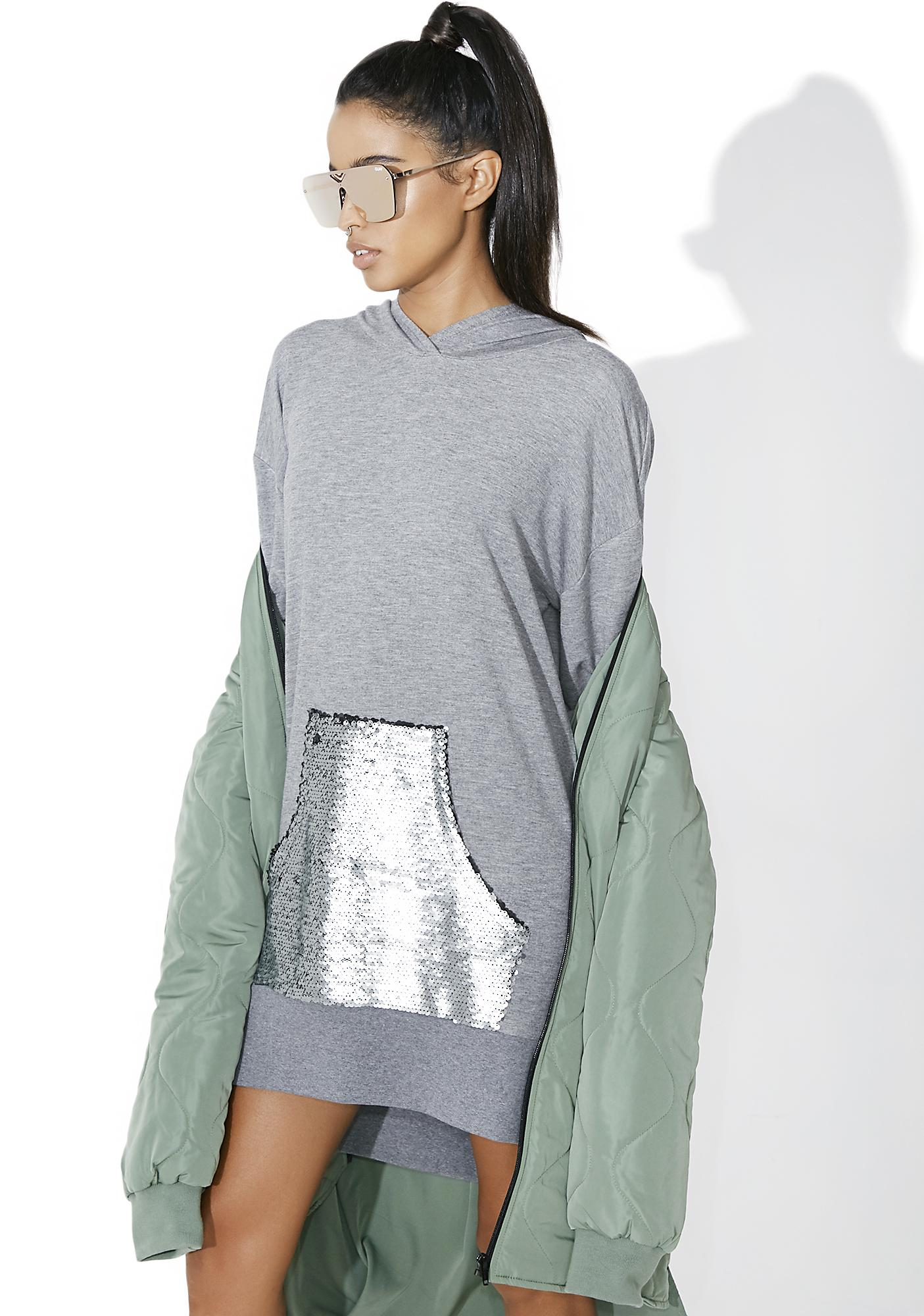 OKAYLA Sequin Pocket Hoodie Dress